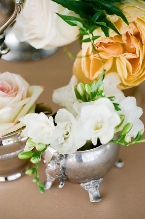 White Flowers in Silver Pot