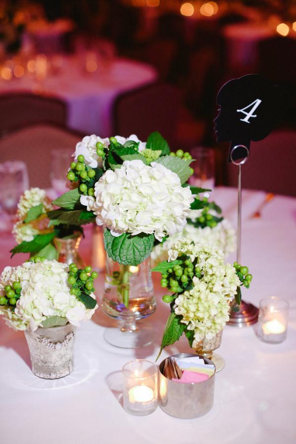 White Hydrangeas Reception Decor