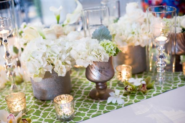 White Hydrangeas in Silver Vases