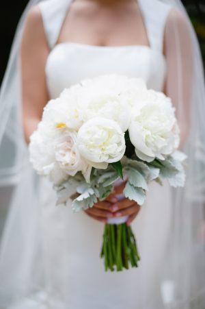 White Peony and Dusty Miller Bouquet