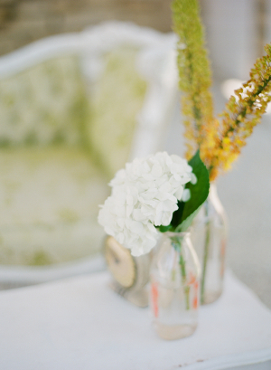 White and Amber Wedding Flowers
