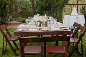 Wood Table and Chairs at Outdoor Reception