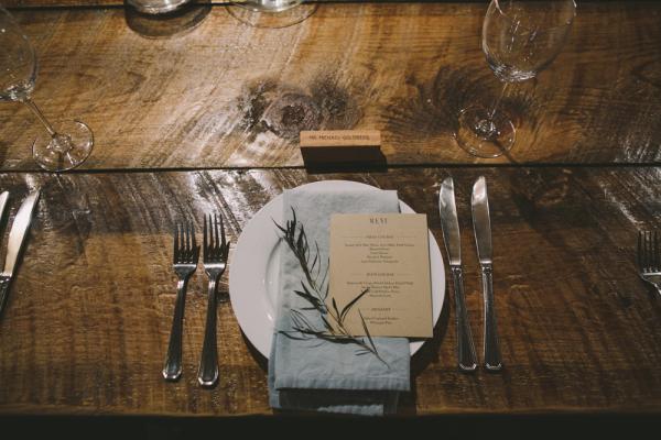 Wood and Light Blue Linens Reception Decor