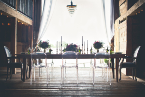 Acrylic Ghost Chairs at Barn Reception