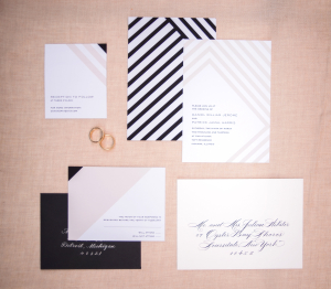 Black and Gray Color Block Wedding Stationery