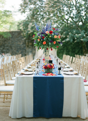 Blue Red and Gold Reception Decor