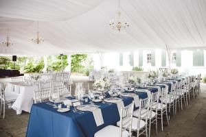 Blue and Cream Outdoor Reception Decor