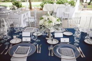 Blue and Cream Reception Decor