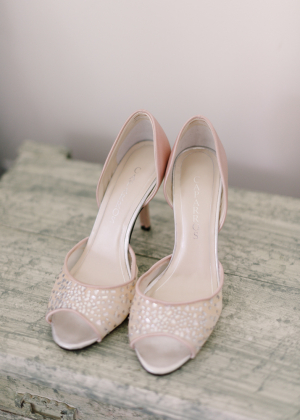 Blush Peep Toe Bridal Shoes