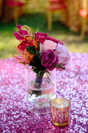 Bold Purple and Orange Reception Flowers