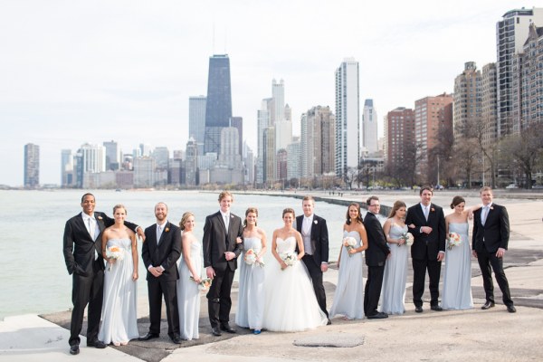 Bridal Party in Front of Chicago Skyline