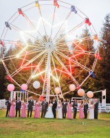 Bridal Party in Front of Ferris Wheel