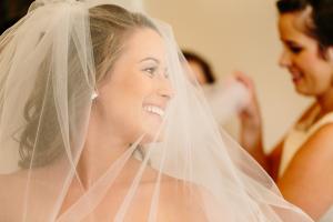 Bride Wearing Veil From Caroline and Ben