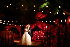 Bride and Groom at Backyard Austin Reception From Caroline and Ben