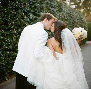 Bride and Groom at Birmingham Botanical Garden