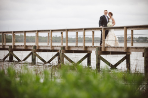 Bride and Groom on Lowcountry Bridge
