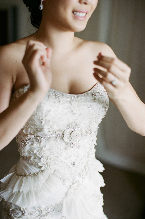 Bride in Lazaro Gown
