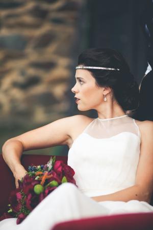 Bride on Burgundy Sofa