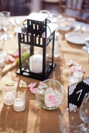 Burlap Linens and Lanterns on Reception Tables