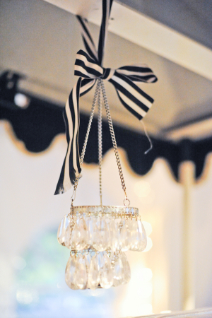 Chandelier Tied With Striped Ribbon