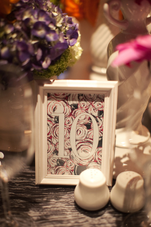 Charcoal and Pink Table Numbers