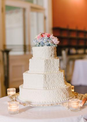 Classic Wedding Cake with Hydrangea Topper