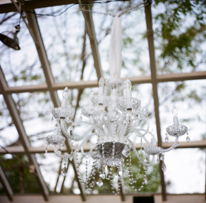 Clear Glass Chandelier Reception Decor