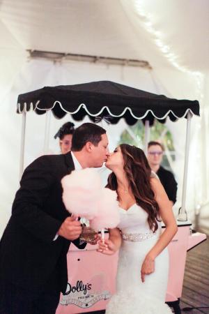 Cotton Candy Cart at Wedding Reception