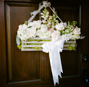 Cream Pink and Green Flowers in Wood Crate