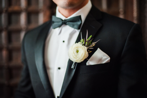 Cream and Green Boutonniere