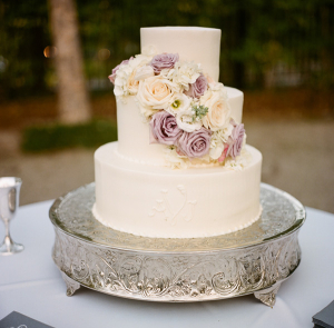 Cream and Lavender Wedding Cake