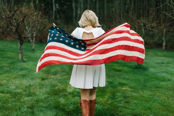 Patriotic Bride Holding American Flag