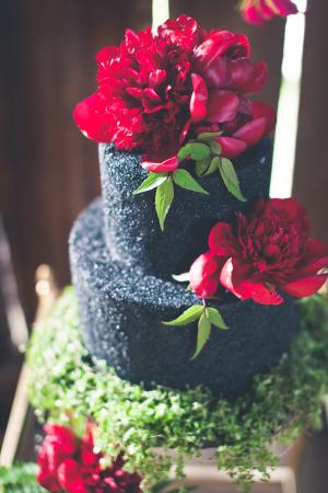 Dark Red Flowers on Black Wedding Cake