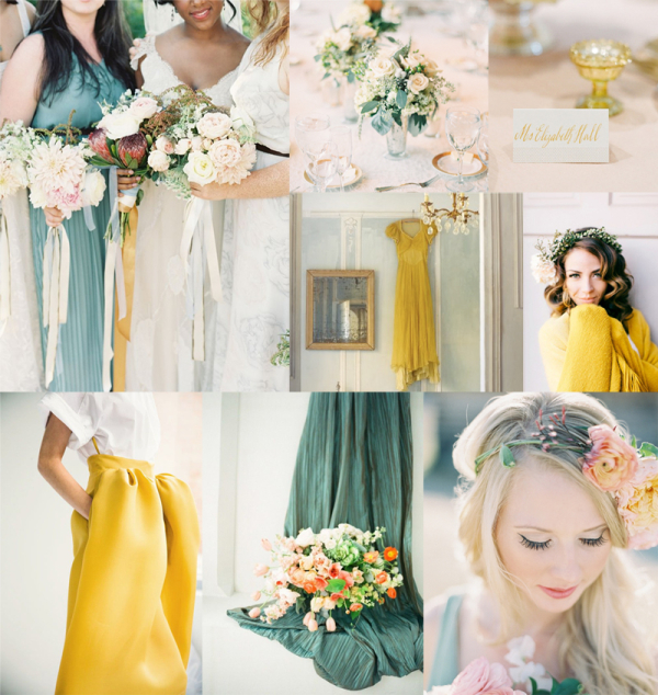 Dusty Teal and Lemon Wedding Colors