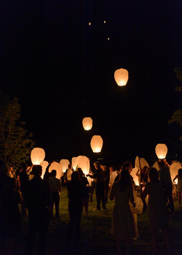 Floating Lanterns at Wedding Reception