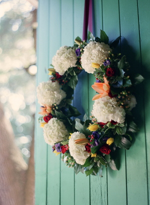 Floral Wreath Hanging on Turquoise Door