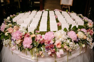Floral and Moss Place Card Display Table