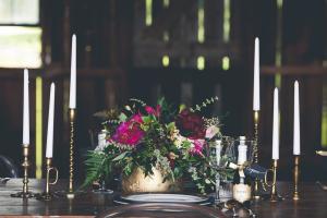 Gold Candlesticks Reception Decor