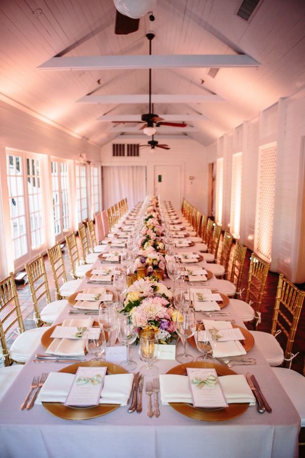 Gold Chiavari Chairs at Reception Table