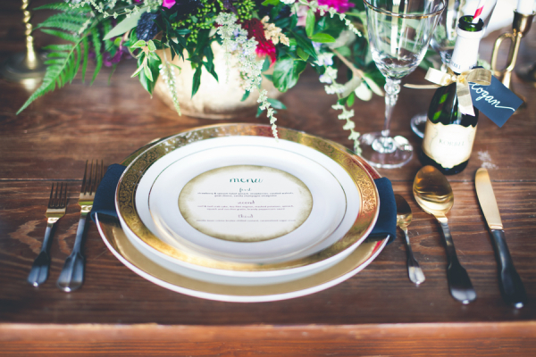Gold Place Settings Reception Decor