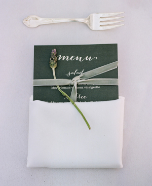 Green Reception Menu With White Calligraphy
