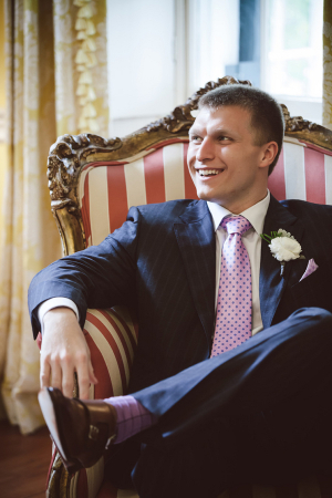 Groom in Pink and Blue Tie