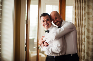 Grooms Getting Ready for Ceremony