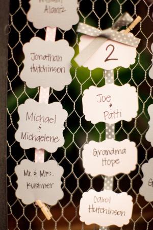 Handwritten Place Cards on Chicken Wire