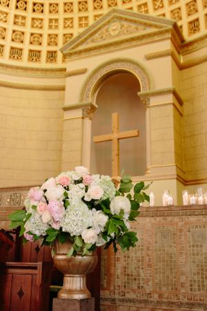 Hydrange and Rose Altar Arrangement
