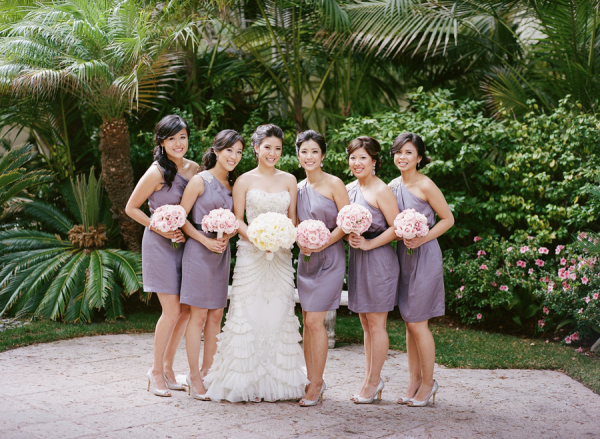Lavender One Shoulder Bridesmaids Dresses