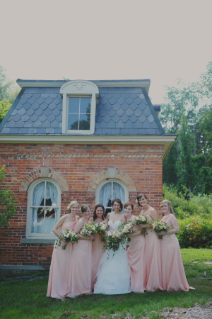 Long Peach Bridesmaids Dresses