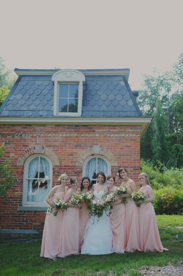 Long Peach Bridesmaids Dresses
