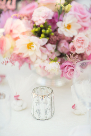 Mercury Glass and Floral Reception Decor