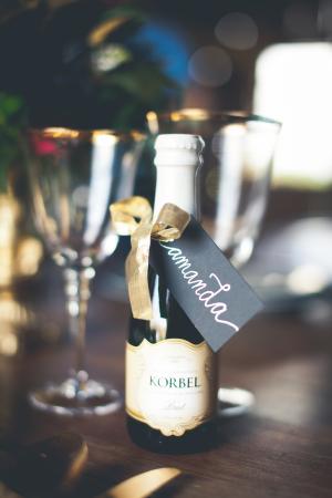 Mini Champagne Bottle Place Card